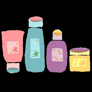 洗顔料、化粧水など、スキンケア用品のイラスト