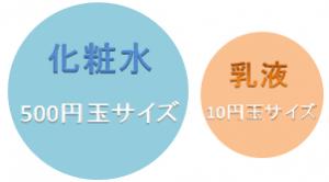 化粧水の使用目安は500円玉サイズ、乳液の使用目安は10円玉サイズ